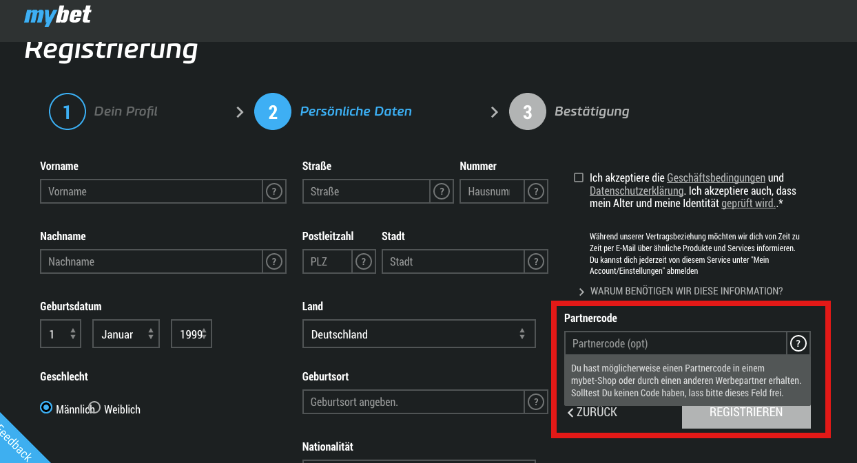 aktueller mybet partnercode für deutsche kunden