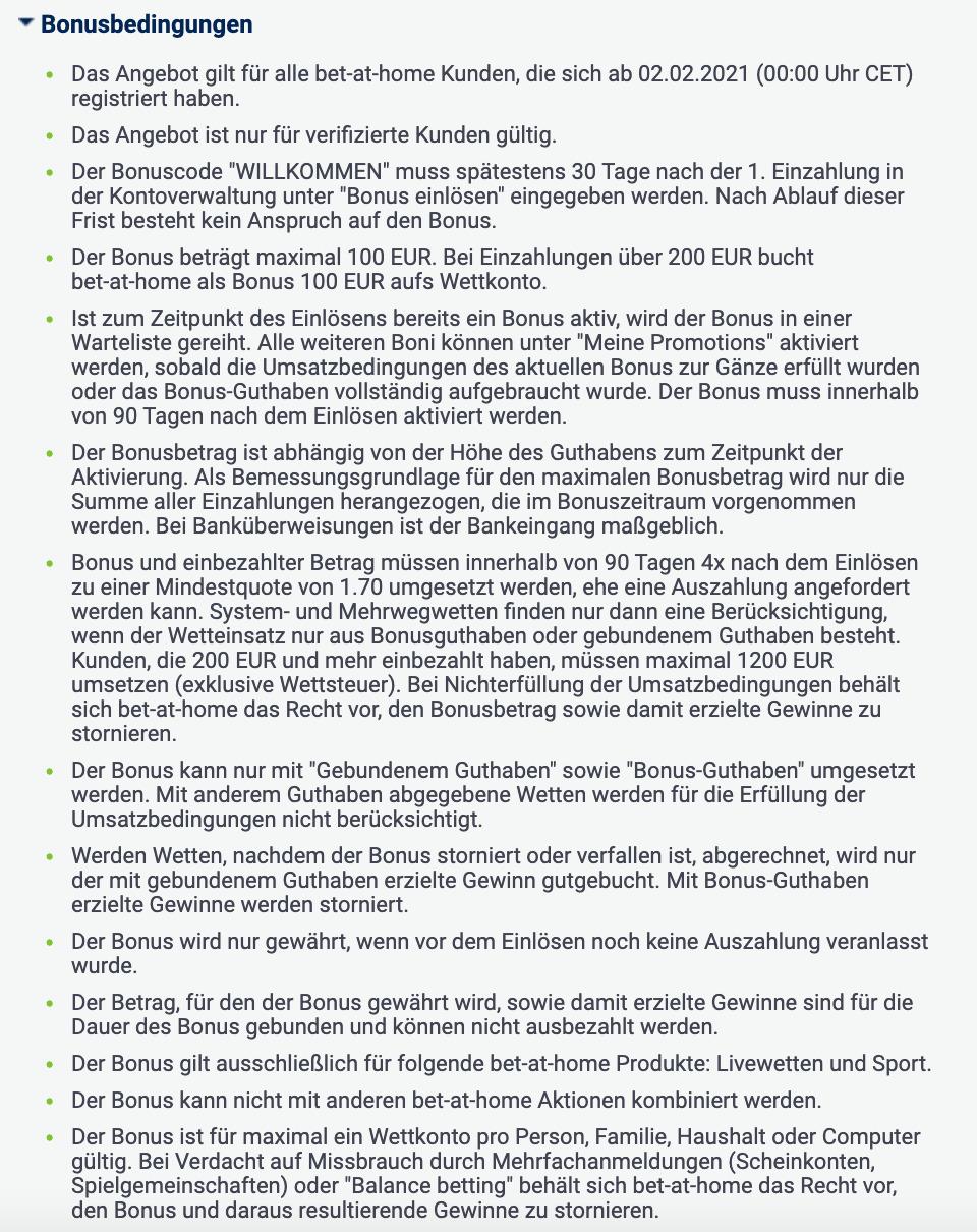 bet-at-home Gutschein Bedingungen