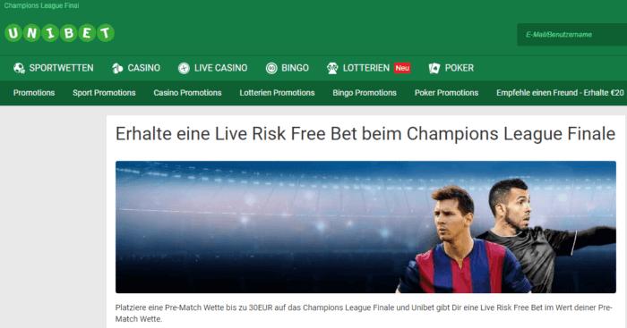 Unibet Champions League Bonus