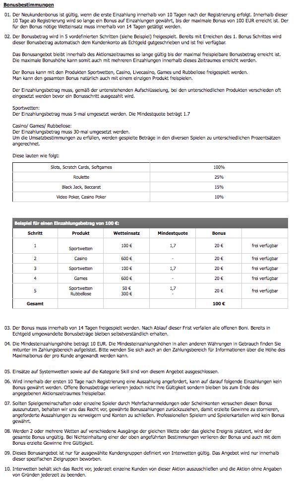 Interwetten Bonus AGB