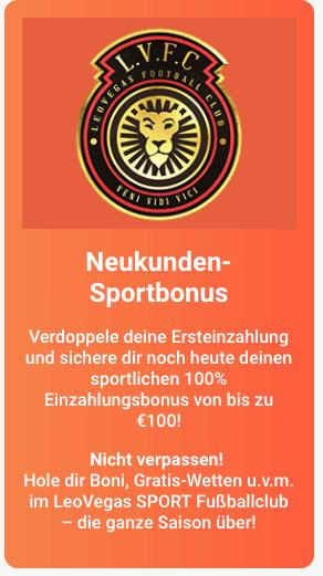 LeoVegas Neukunden Sportbonus