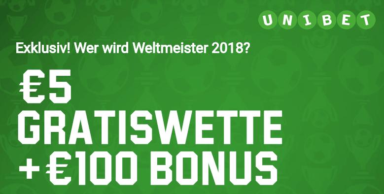 Unibet WM Bonus und Gratiswette