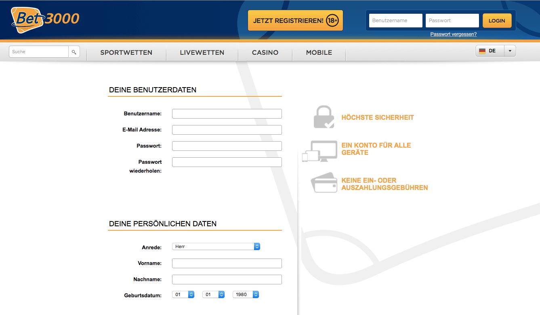Bet3000 Registrierung
