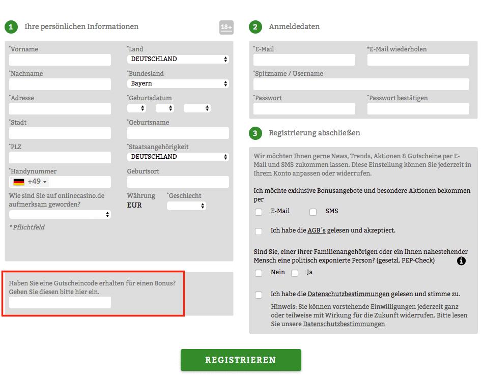 onlinecasino registrierung